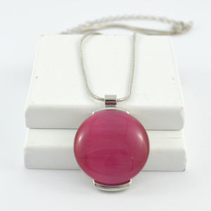 Lara Pendant in Silver with Pink Stone