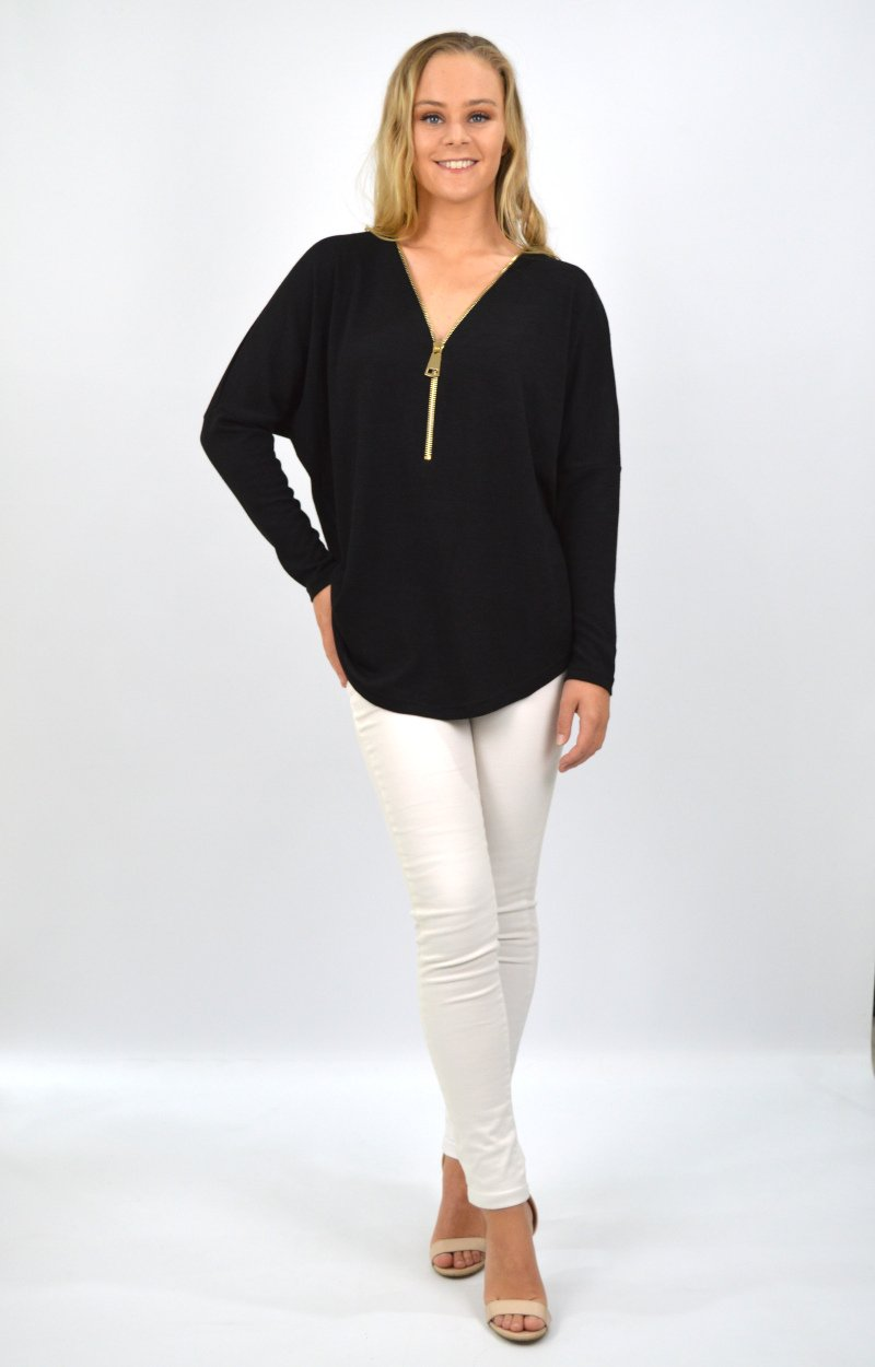 Dahlia Zip Front Top in Black