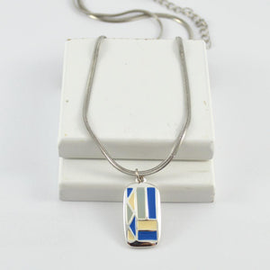 Tahlia Silver Pendant in Blue & Cream