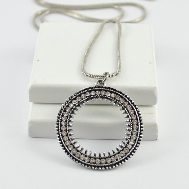 Annie Long Round Pendant in Silver with Diamontes