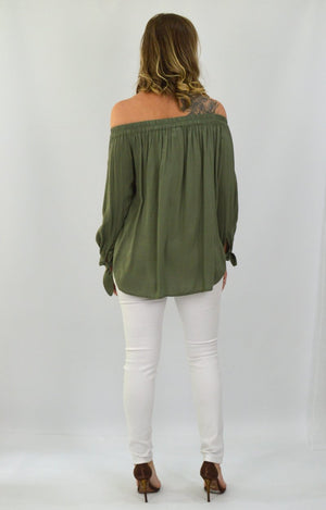 Rachel Off the Shoulder Top in Khaki