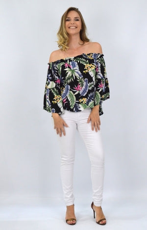 Alexa OTS top in Black with Tropical Floral