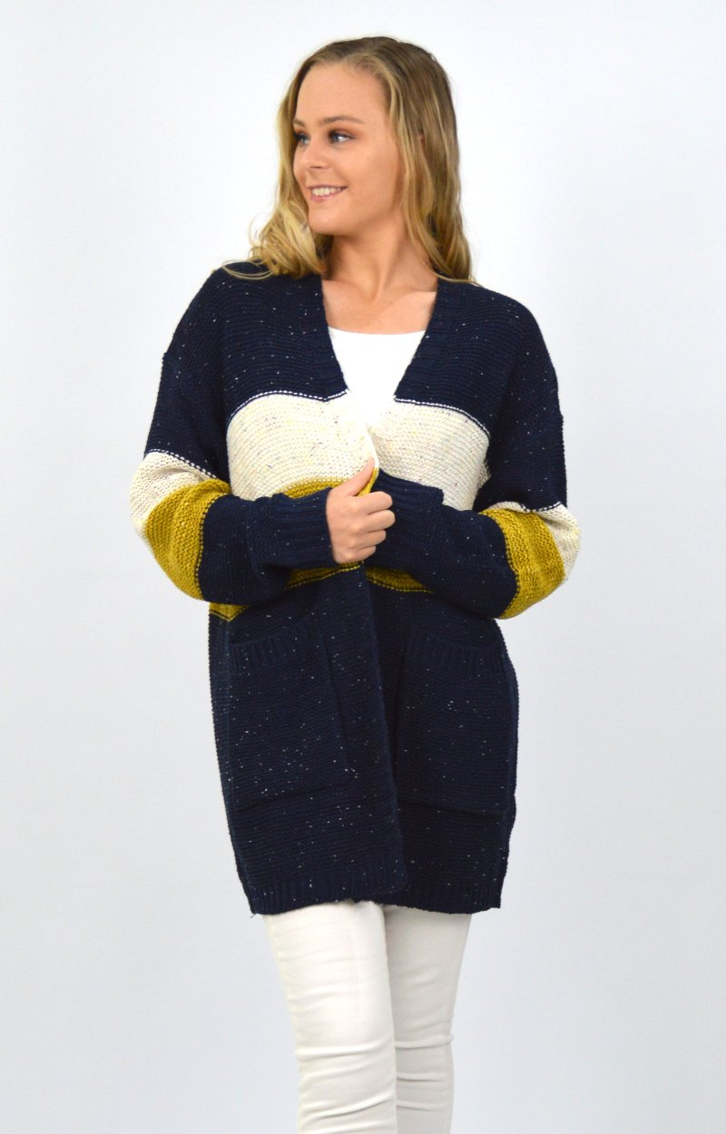 Silvana Cardigan in Navy/Natural/Ochre