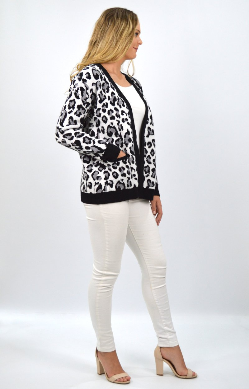 Phoebe Cardigan in Black Leopard Print