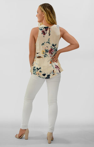 Debbie Top in Cream with Oriental Print