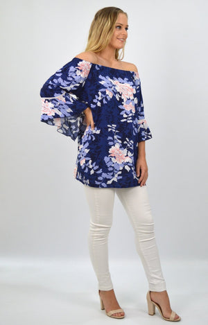 Delilah OTS Top in Navy with Pink Floral