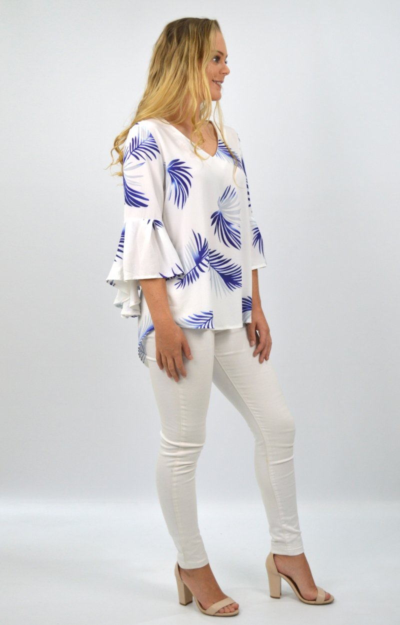 Willow Top in White with Blue Palms
