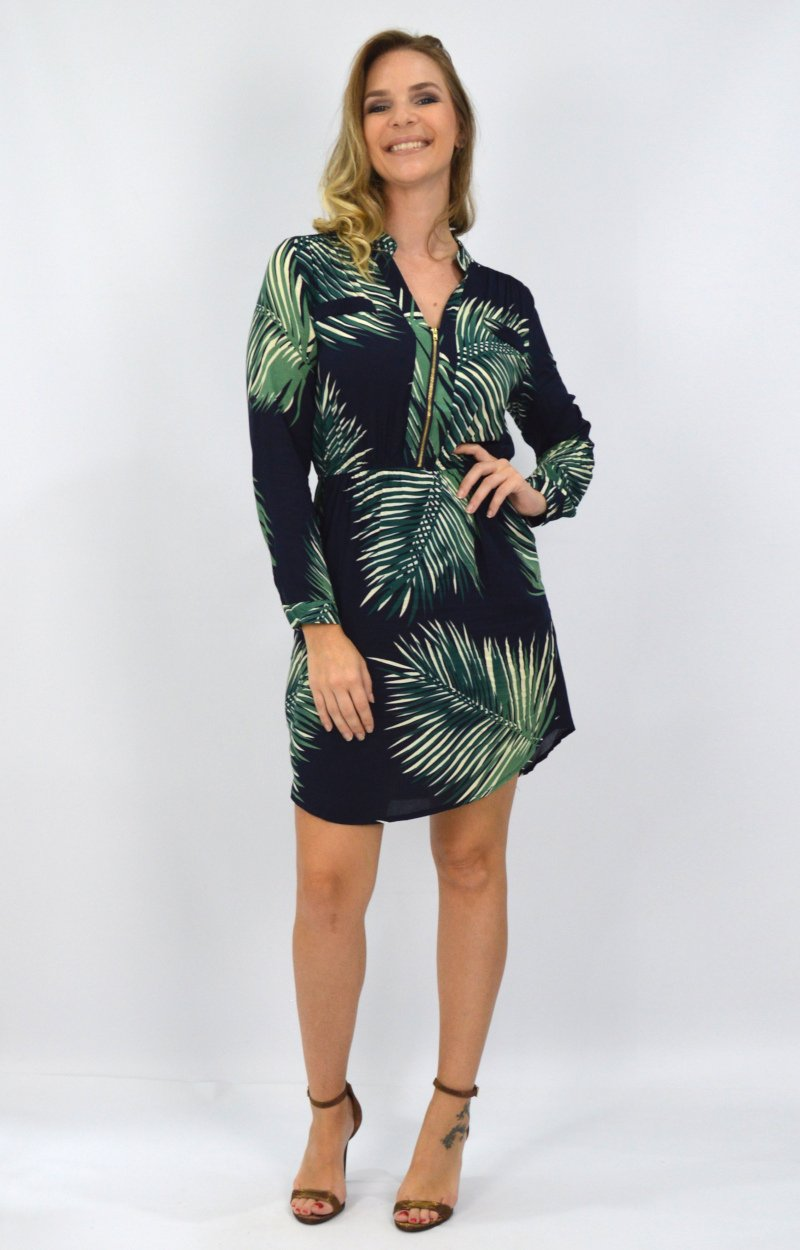Abby Dress in Navy with Green Leaves
