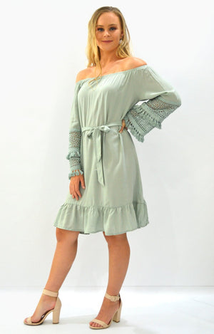 Amy OTS dress in Sage