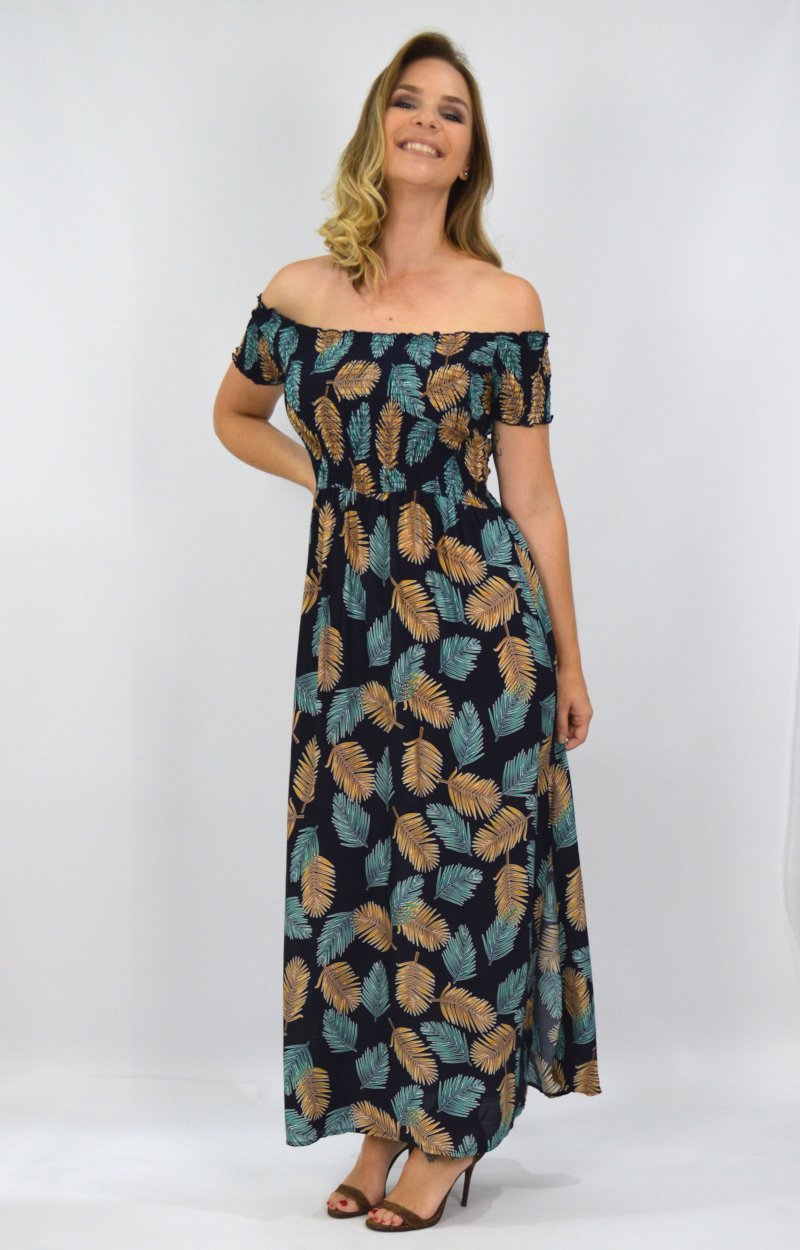 Candice Dress in Navy with Brown and Teal Leaves