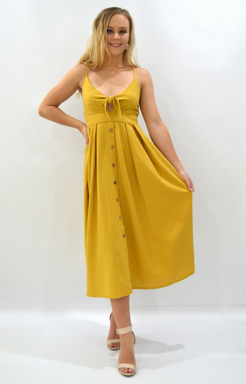 Sabrina Dress in Ochre Yellow