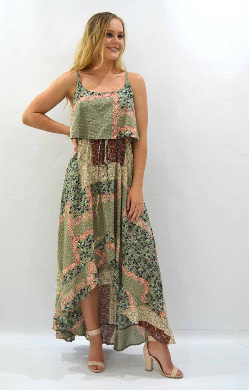 Pippa Dress in Vintage Green Patchwork