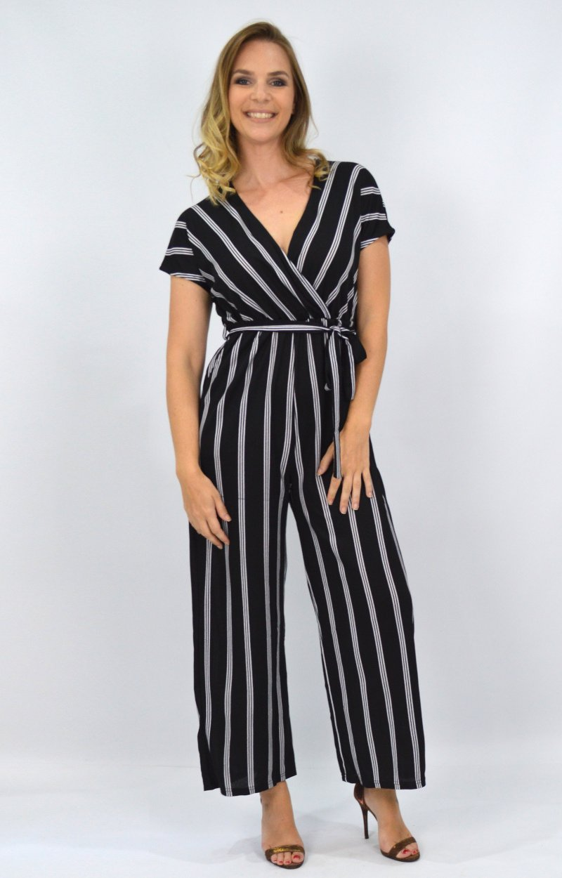Tayla Jumpsuit in Black/White Triple Stripe