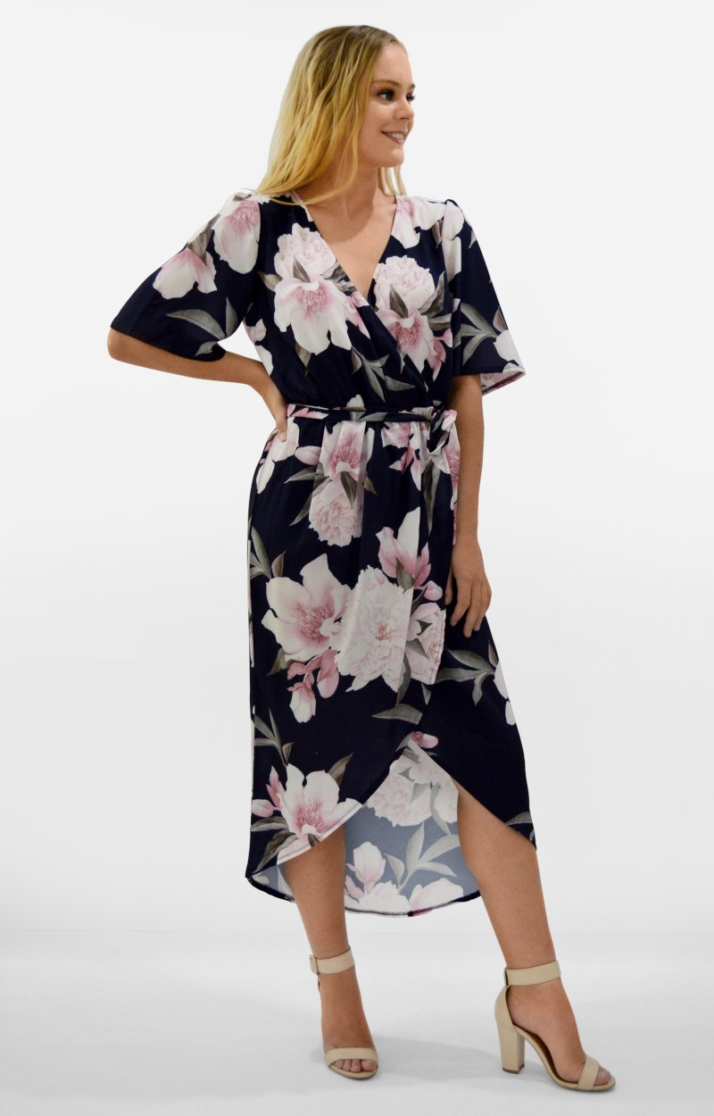 Zara Dress in Navy with Pink Floral