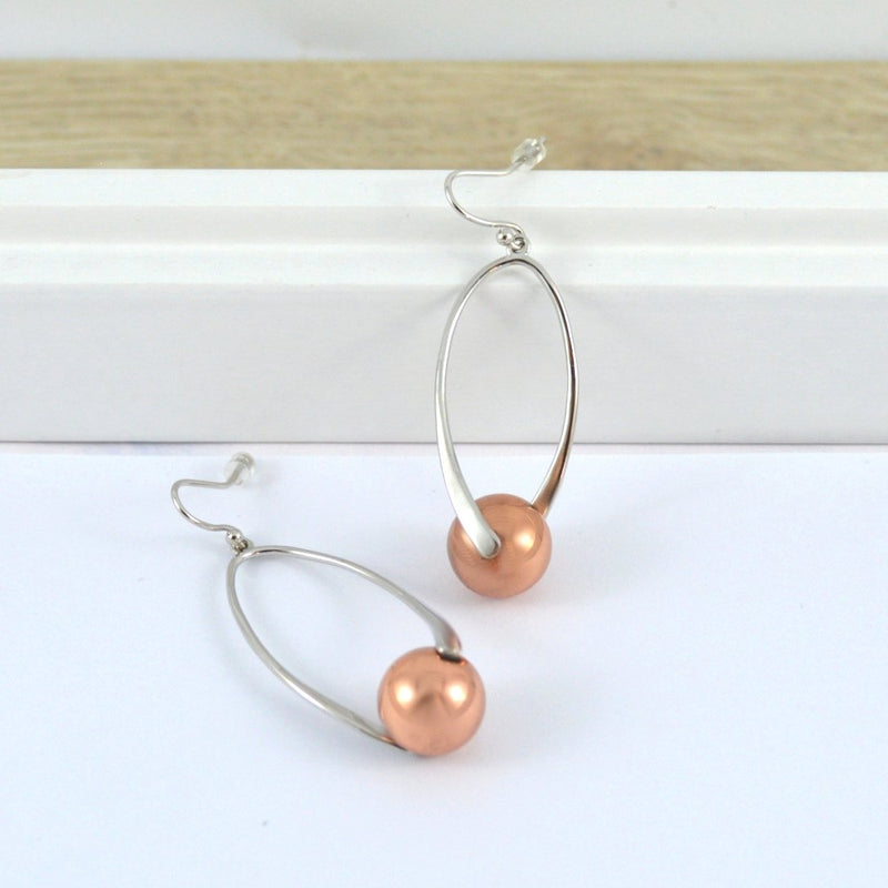 Two Tone Twist Earrings in Silver and Rose Gold