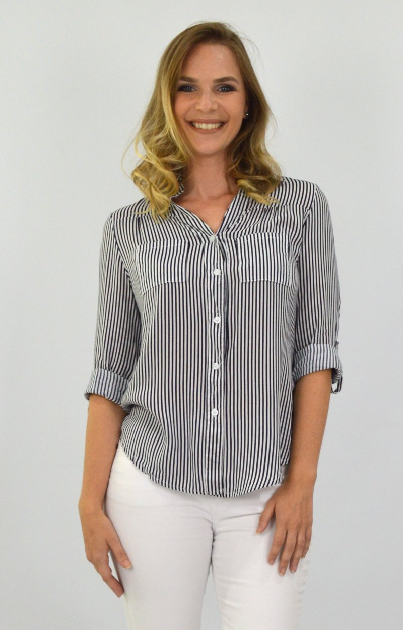 Courtney Shirt in Black and White Stripe