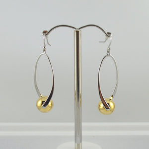 Two Tone Twist Earrings in Silver and Gold