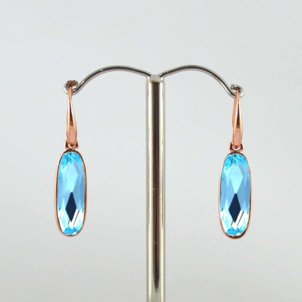 Rose Gold Drop Earrings with Blue Crystal