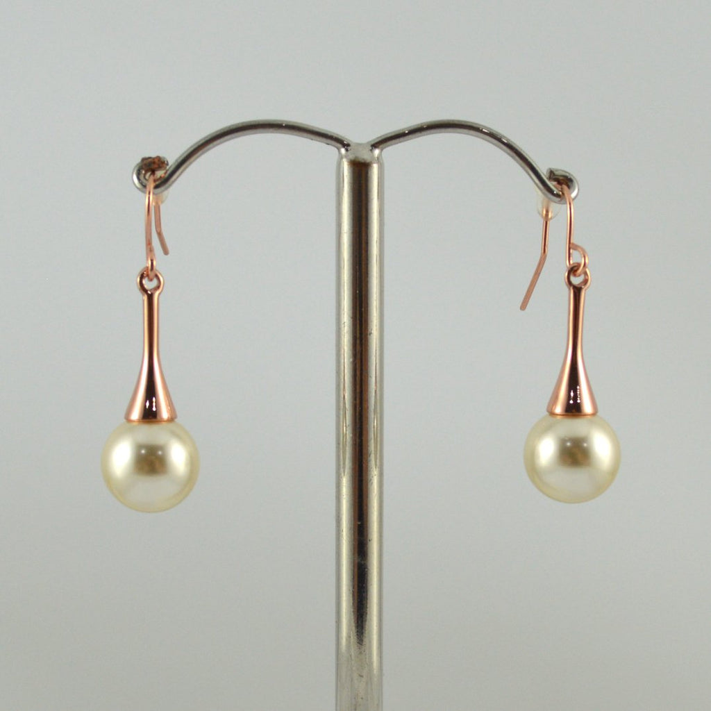 Rose Gold Drop Earrings with White Pearl