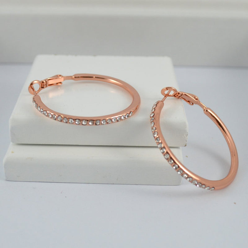 Rose Gold Earring Hoops with Diamontes