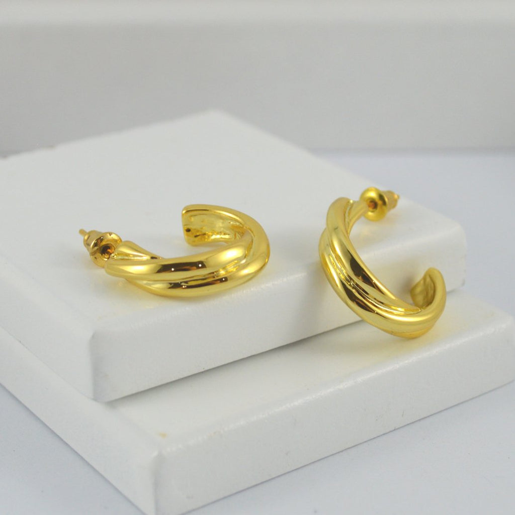 Gold Plated Twist hoops (small)