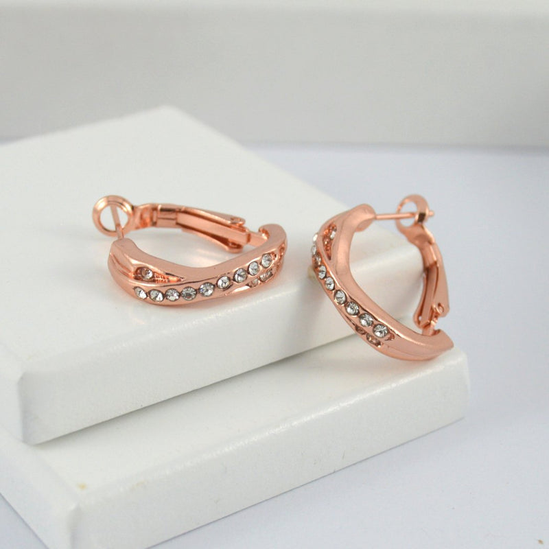 Rose Gold Plated Twist Earring Hoops with Diamontes