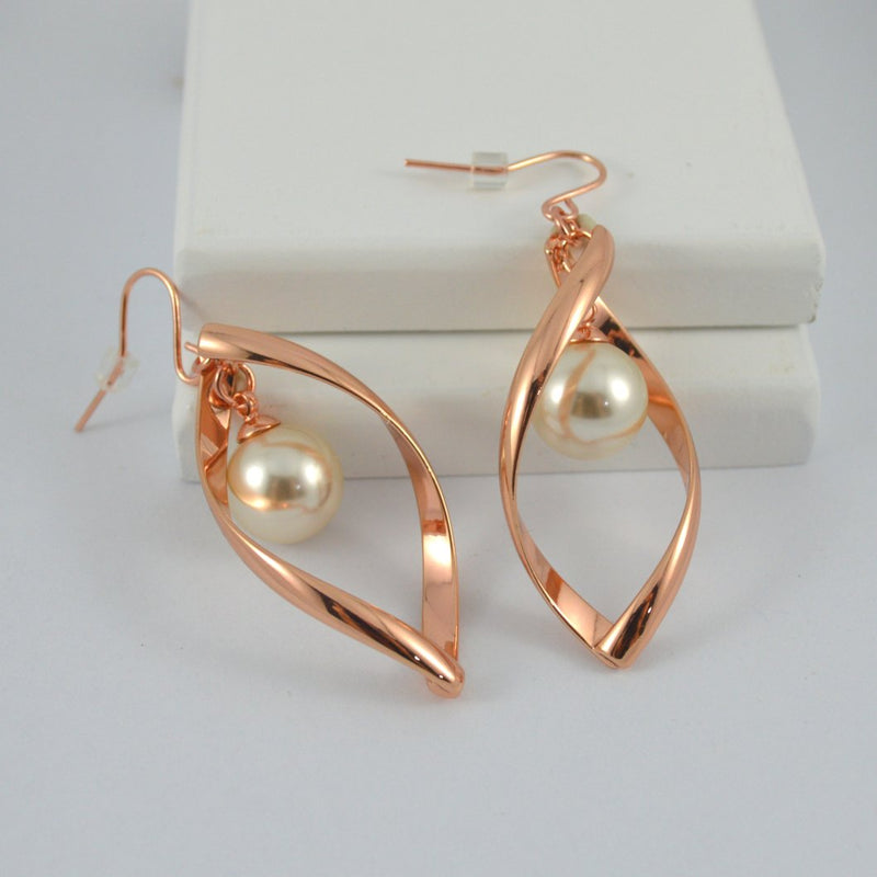 Rose Gold Twist Earrings with White Pearl