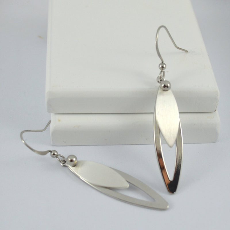 Dual texture silver drop earrings
