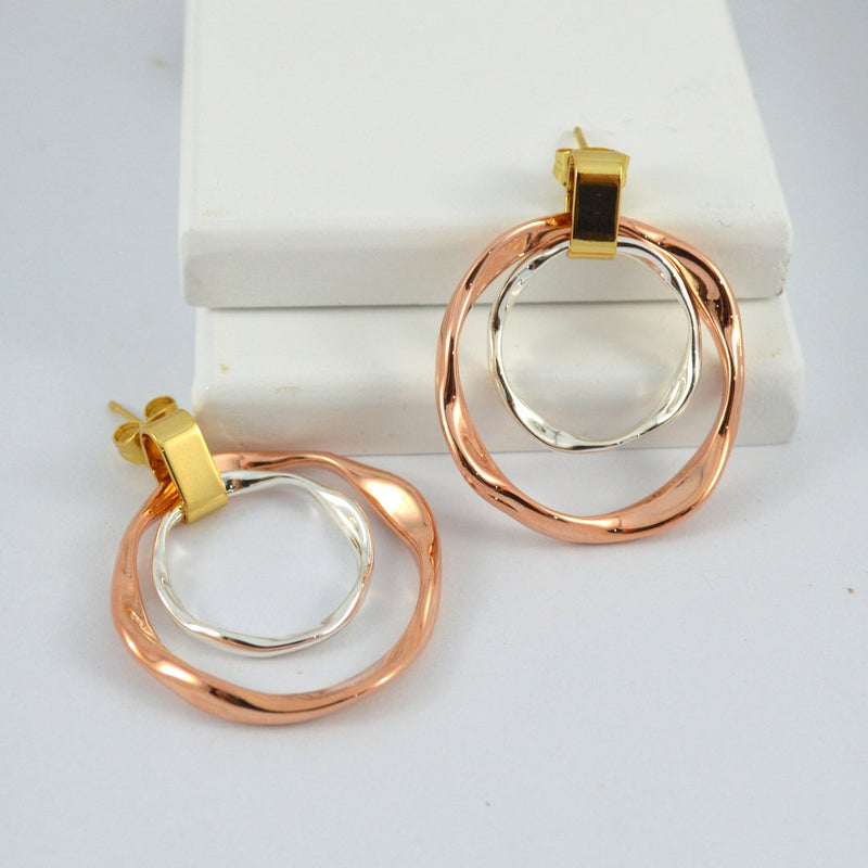 Multi Tone Round Drop Earrings