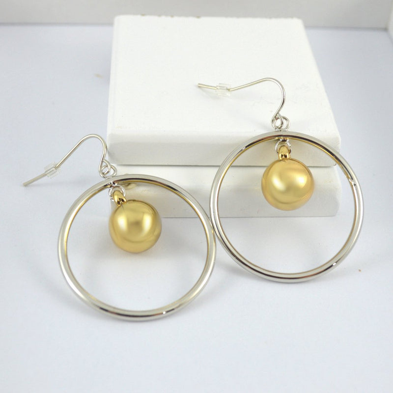 Two Tone Gold & Silver Round Drop Earrings