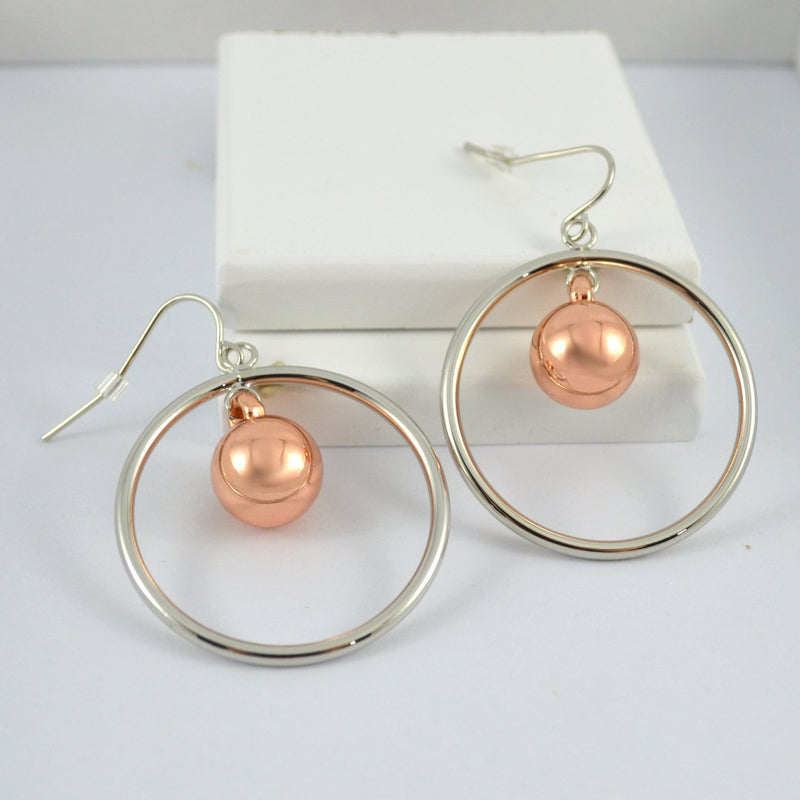 Two Tone Rose Gold & Silver Round Drop Earrings