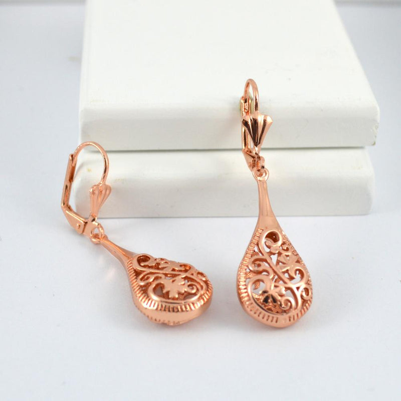 Rose Gold Vintage Swirl Drop Earrings