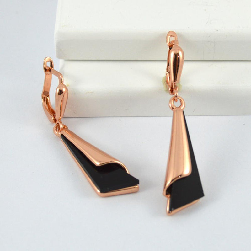 Rose Gold and Black Drop Earrings