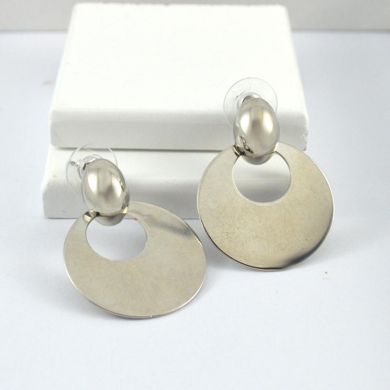 Lisa Silver Round Drop Studs