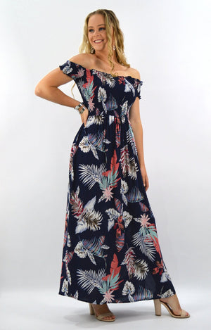 Candice Dress in Navy with Leaves