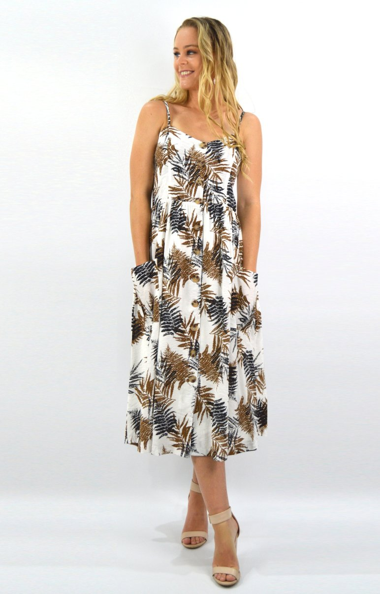 Albi Dress in White with Autumn leaves