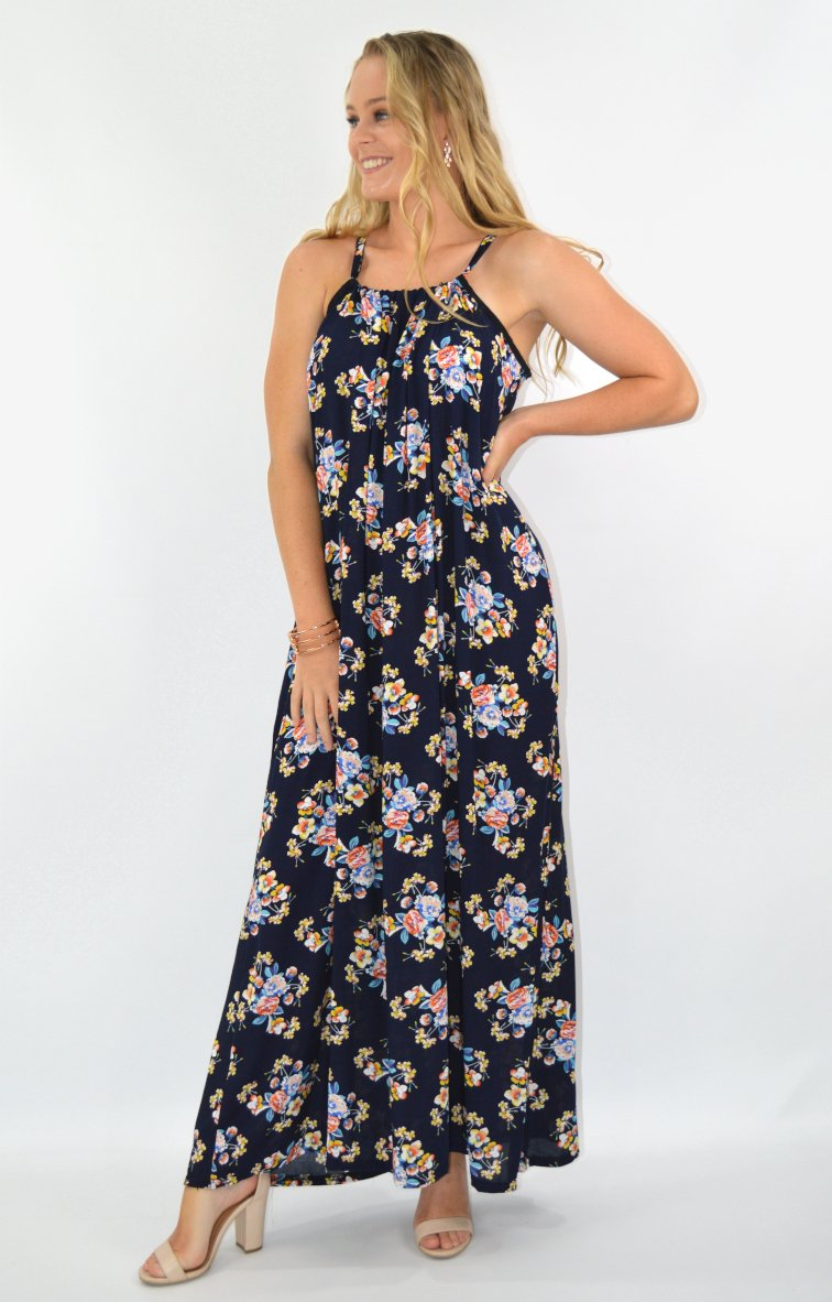 Tullie Maxi in Navy with Summer floral