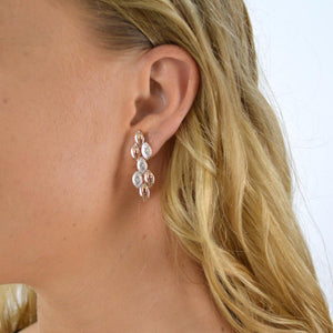 Rose Gold/White Gold Drop Earrings with Diamontes