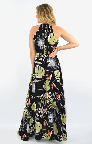 Lisa Maxi dress in black tropical