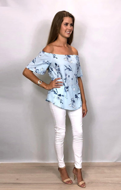 Francis OTS Top in Blue with Navy Floral