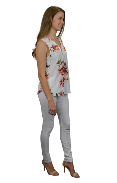 Gaby Zip Front Top in White with Autumn Floral