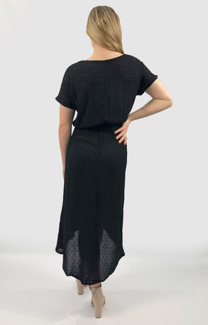 Gigi Dress in Black Georgette Dobby Spots
