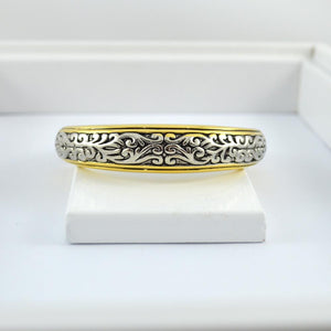 Gold and Silver Bracelet with Engraved Detail