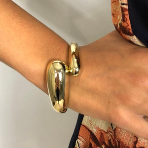 Gold Cross Over Bangle