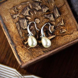 Ellie Silver Drop Earrings with White Pearl