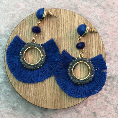Tassel Drop Earrings in Gold and Blue