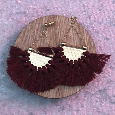 Tassel and Chain Drop Earrings in Gold and Burgundy