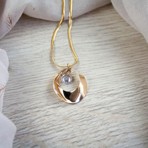 Lauren Long Gold Pendant with Crystal
