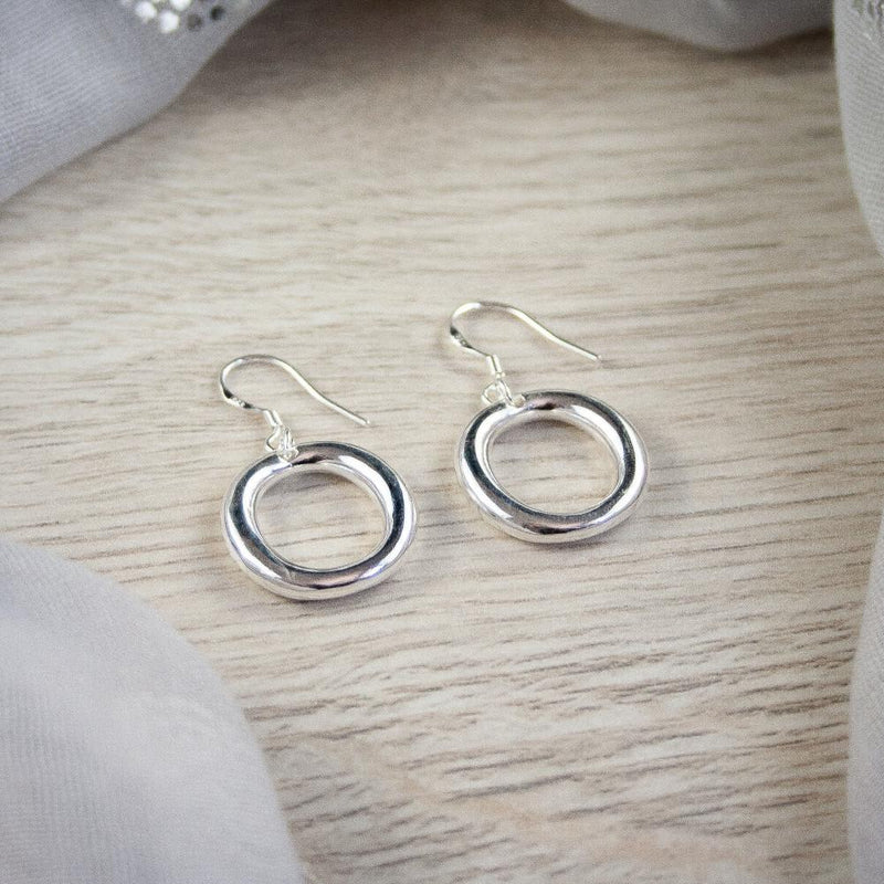 Clara Silver Round Earrings