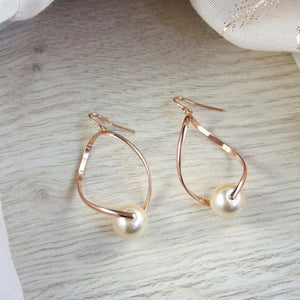 Lara Rose Gold and Pearl Twist Earrings
